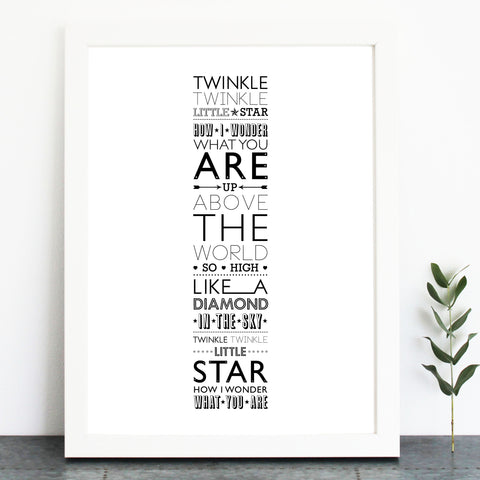'Twinkle, Twinkle, Little Star' Print