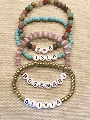 Stack of Blessings Bracelets in Pink and Blues