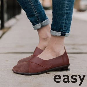 EASY Women's Comfy Lightweight Leather Loafer