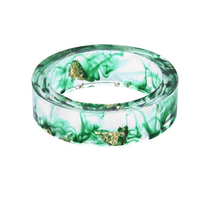 Ocean Style Green Gradient Ring with Gold Foil Inside