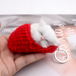 Cute Sleeping Cat Pompom Keychains