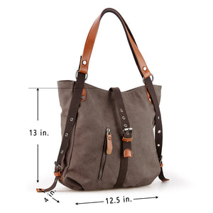 Alice Canvas Backpack-Shoulder Bag with Extra Large Capacity