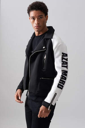LOGO BLACK/WHITE SCUBA BIKER JACKET