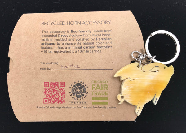 Recycled Horn Flying Pig Key Chain