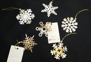 Recycled Snowflakes Horn Ornament