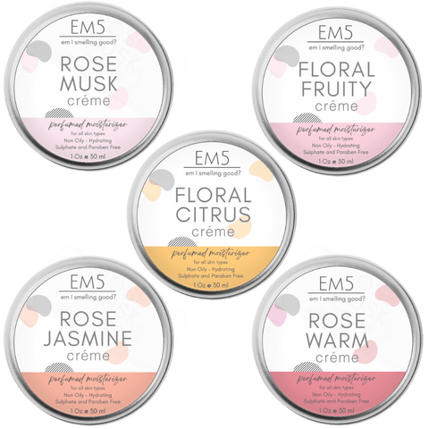 Em5's HydroBoost Perfumed Moisturizing Crème Set of 5, 30Gms Each | Floral with Twists | Silicon and Paraben Free | Ultra Absorbing | For all Skin Types | Get 5 Free Samples