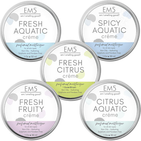 Em5's HydroBoost Perfumed Moisturizing Crème Set of 5, 30Gms Each | Silicon and Paraben Free | Ultra Absorbing | For all Skin Types | (Fresh/Aquatic)