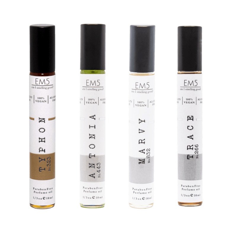 Em5's Best Sellers Masculine Fragrances Premium Combo Set, Inspired from Tuscan leatherr | Cllive Christiann | Jazzz Clubb Margiella |Tobacco Oud | Pack of 4 | 1/3oz (10ml) each.