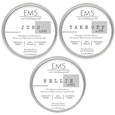 Em5 Luxury Solid Perfume Combo Set , Inspired from Channeell | Armaannii | Escaddaa - Pack of 3 Solid Perfume - 1oz (28 gm) each