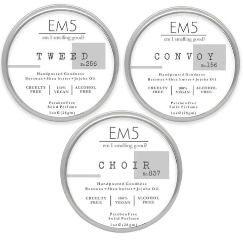 Em5 Premium Solid Perfume Combo Set, Inspired from Creeeddd  | Armaannii (Men) | Jimmyyy Chooo - Pack of 3 Solid perfume - 1oz (28 gm) each