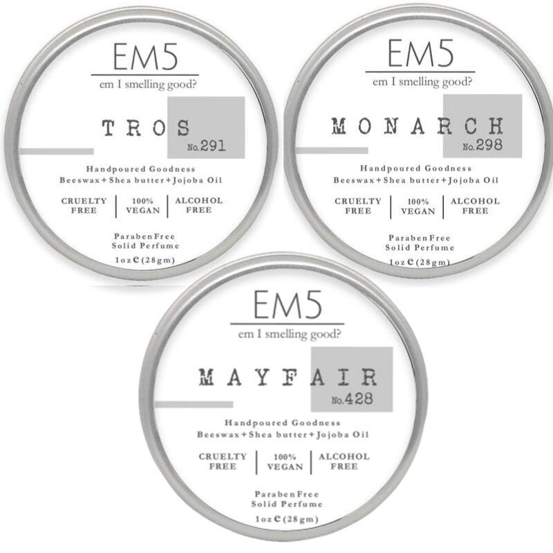 Em5 Premium Solid Perfume Combo Set, Inspired from 24 Kt Exotticc Muskk | YSLL | Ferraggammoo - Pack of 3 Solid perfume - 1oz (28 gm) each