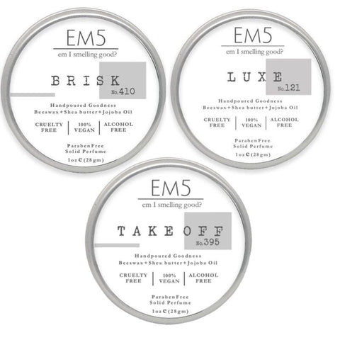 Em5 Luxury Solid Perfume Combo Set, Inspired from Pantyy dropperr  | Jeen Paull Gaultieerr  | Aquaa De Gioo Armaannii (Women) - Pack of 3 Solid perfume - 1oz (28 gm) each