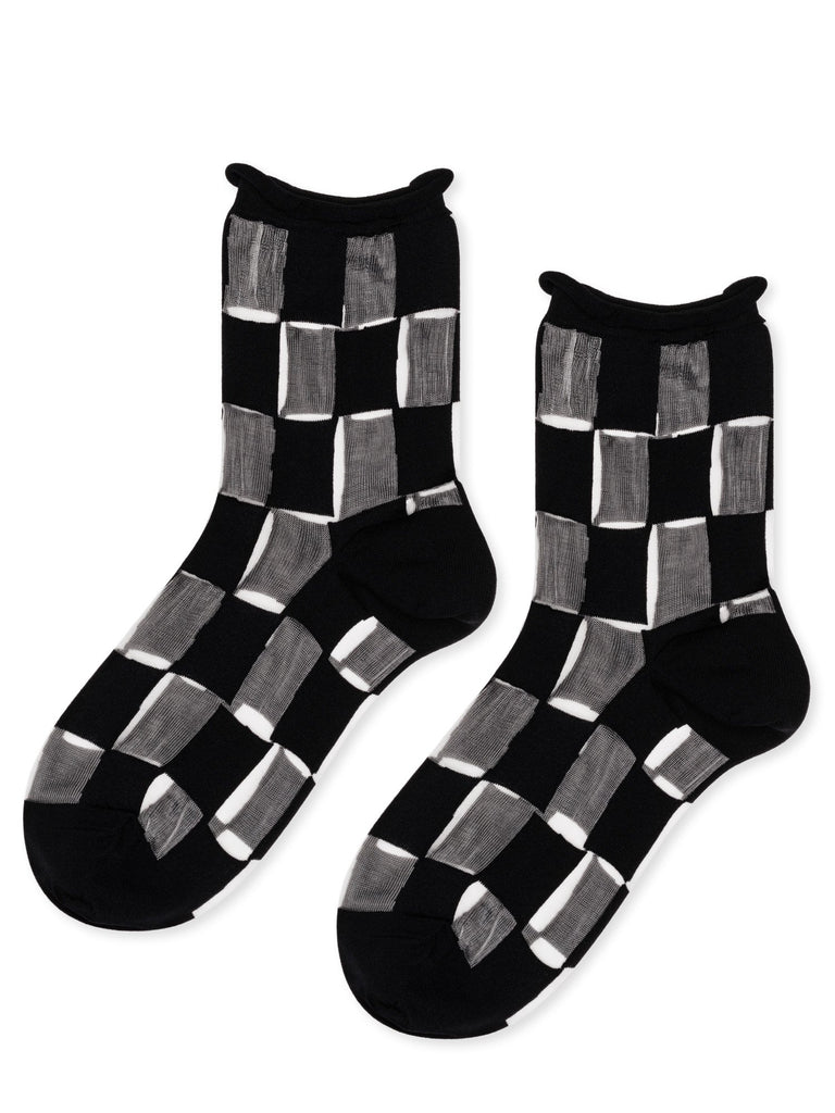Hansel from Basel Berlin Sheer Short Crew Socks - Black