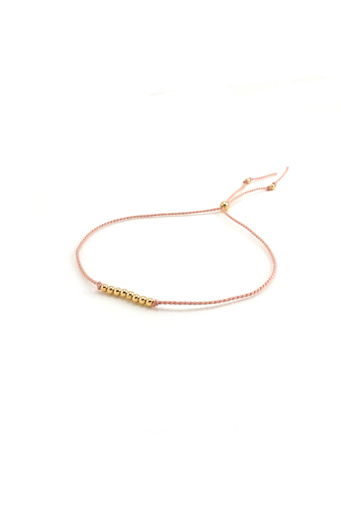 Friendship Bracelet No. 3, Blush pink - Abacus Row Handmade Jewelry