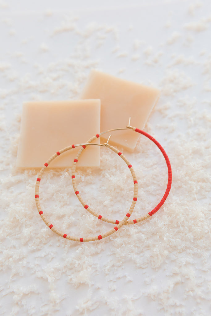 Loma Earrings, Blush/Red