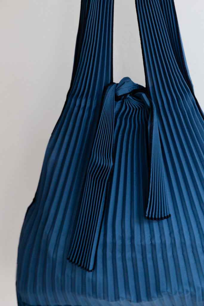 Navy Blue Large Pleated Pleco Tote Bag by KNA Plus