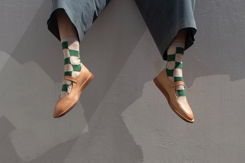 Hansel from Basel Checkboard Sheer Crew Socks