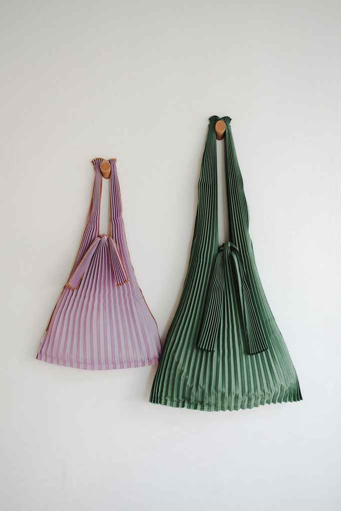 Small Pleated Pleco Tote Bag - Purple + green