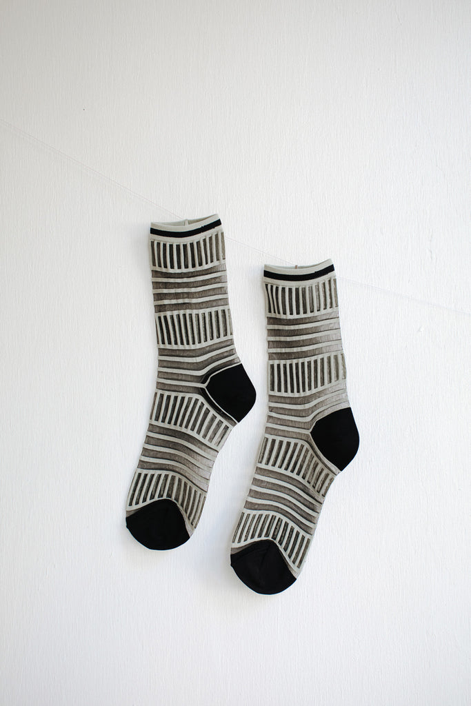 Hansel from Basel Mix Stripe Tulle Sheer Crew Socks