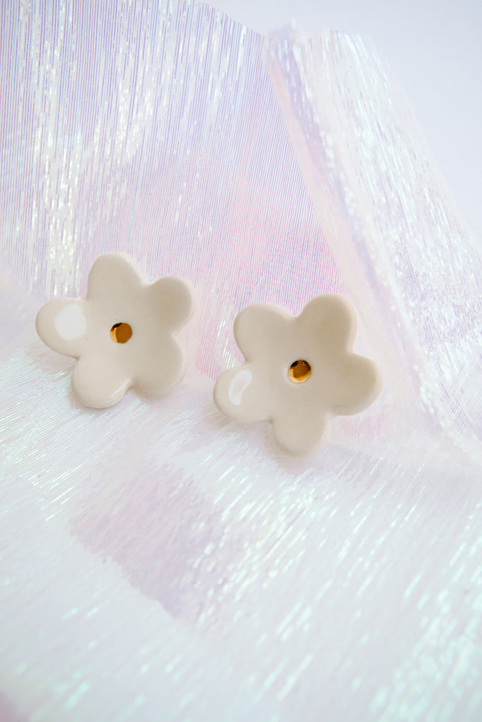 Creme Flower Earrings by TPOH The Persuits Of Happiness