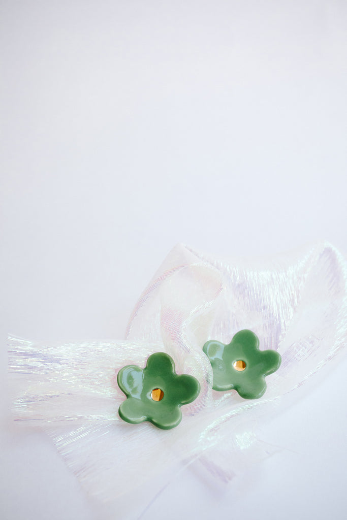 Sage Green Flower Earrings by TPOH The Persuits Of Happiness