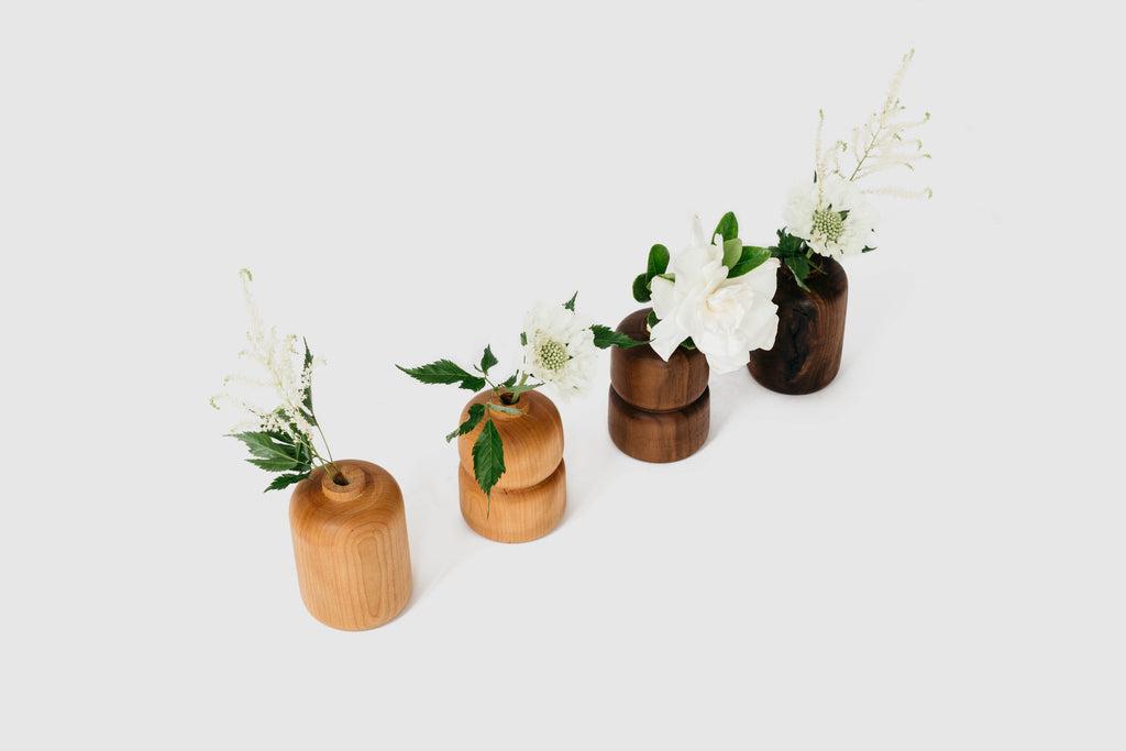 Cherry and Walnut Bud Vases by Melanie Abrantes