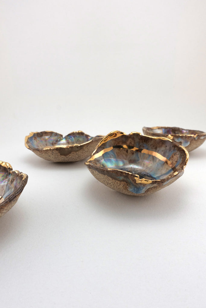 Minh Singer Iceland Blue Lagoon Dish with Gold and Luster Mini side
