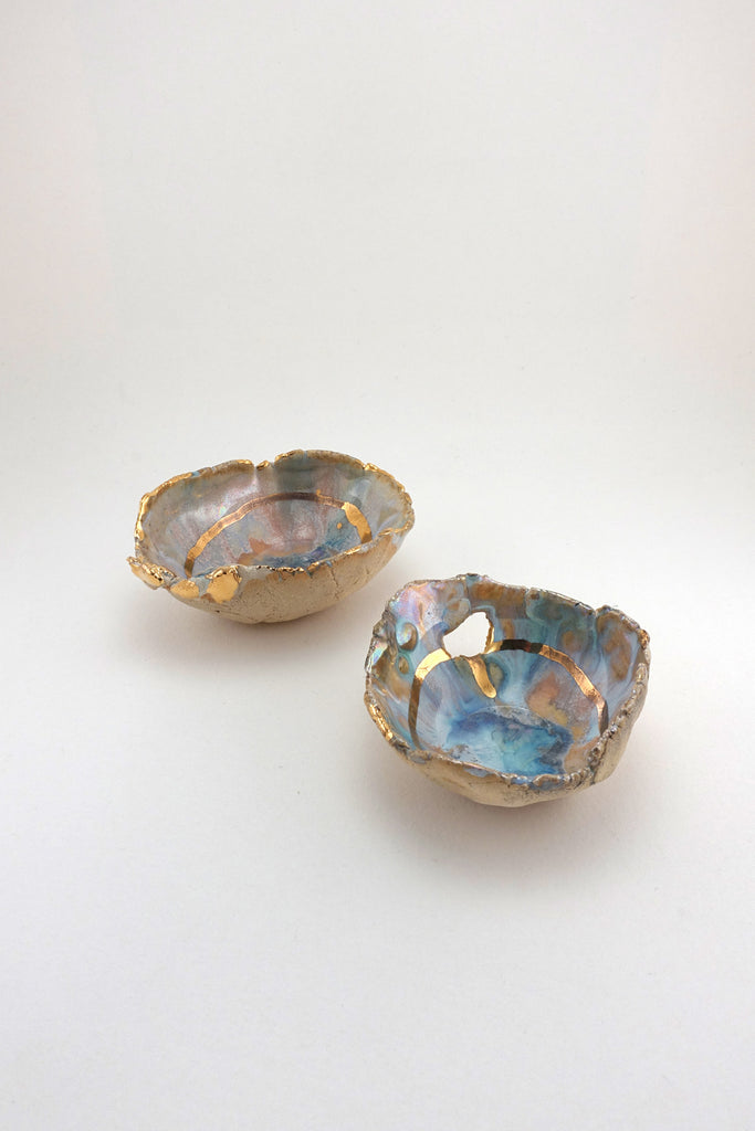 Minh Singer Iceland Prism Dish with Gold and Luster Mini Pair