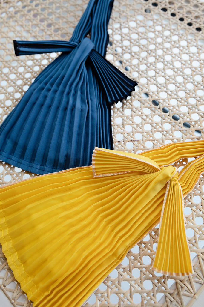 Mini Pleated Pleco Tote Bag by KNA Plus Yellow Navy