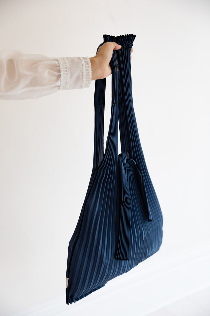 Large Pleated Pleco Tote Bag by KNA Plus Navy Blue