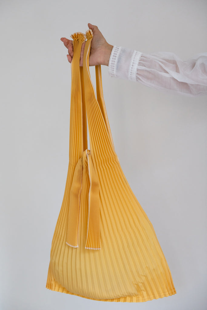 Large Pleated Pleco Tote Bag by KNA Plus Mustard Yellow