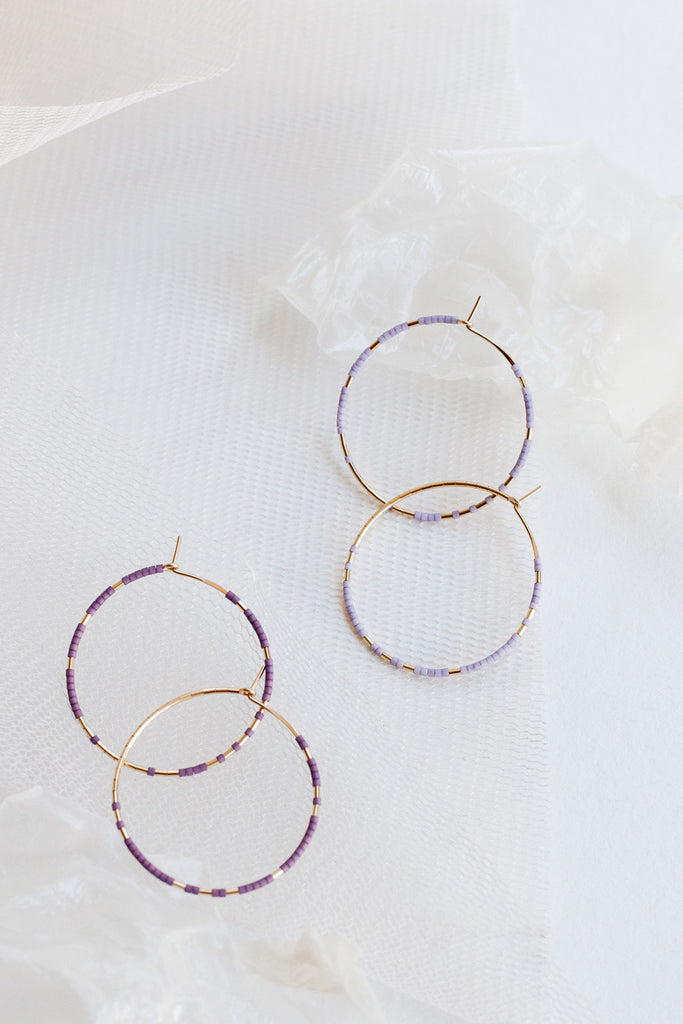 Pan Hoops, Wisteria and Ume - Abacus Row Handmade Jewelry