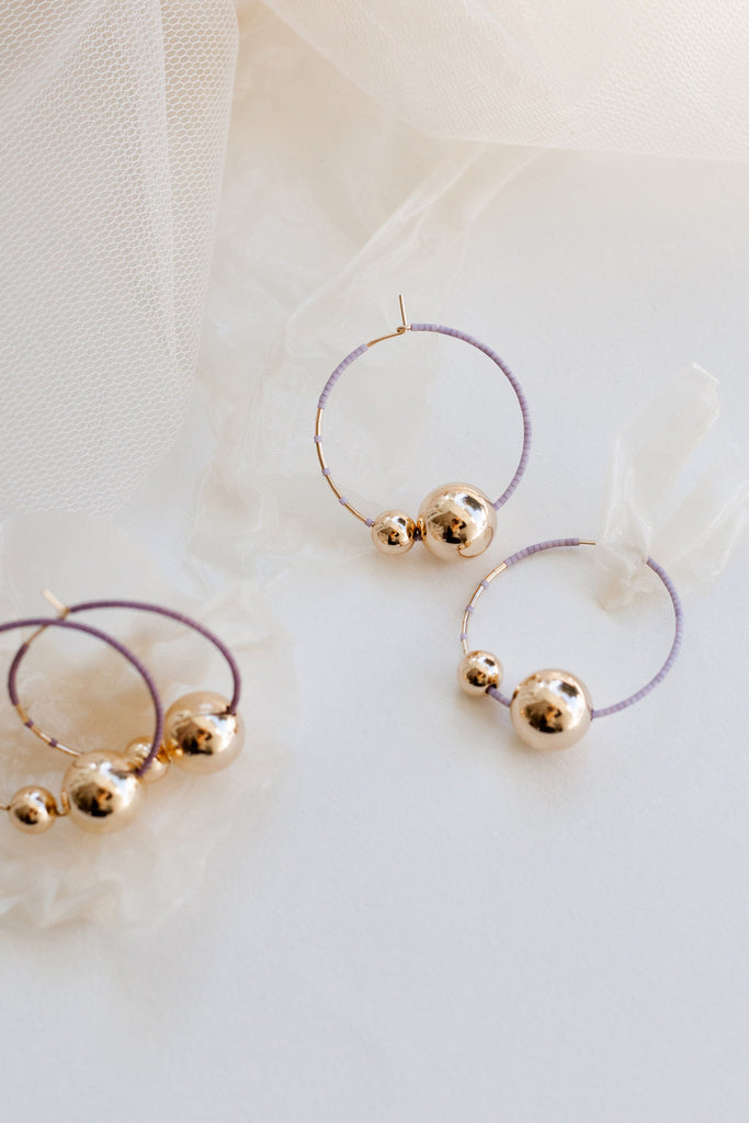 Kari Hoops, Wisteria and Ume - Abacus Row Handmade Jewelry