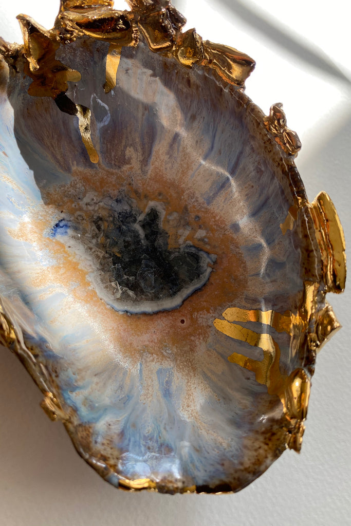 Minh Singer Iceland Blue Lagoon and Gold Shell Small Close Up