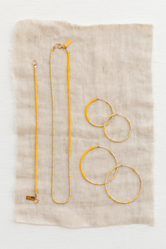 Loma Earrings, Wool/Yellow