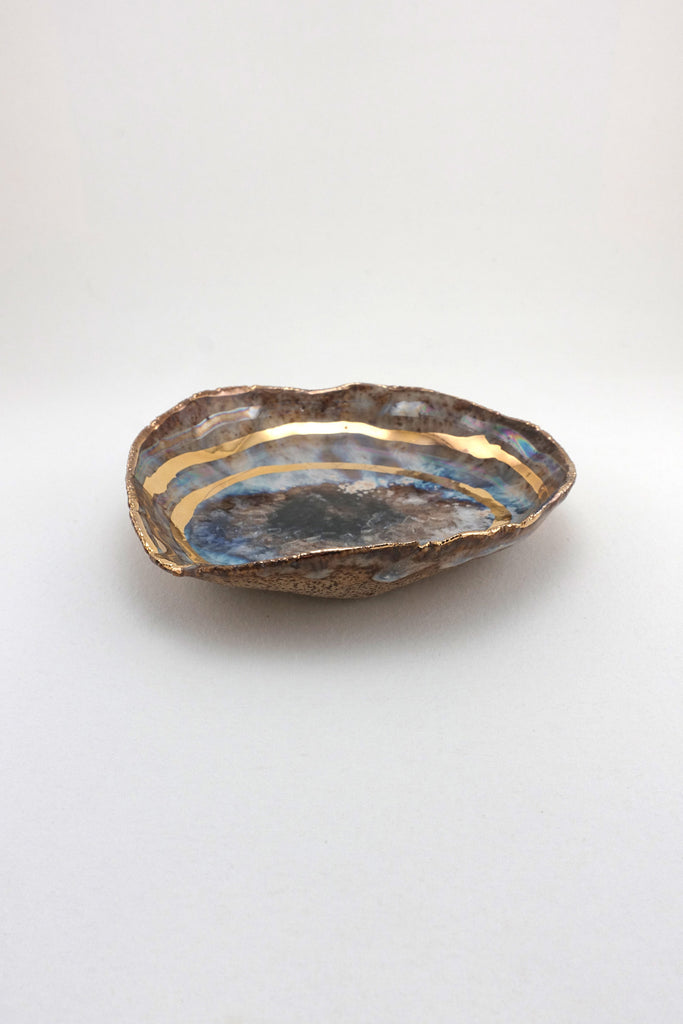 Minh Singer Iceland Blue Lagoon Dish with Gold and Luster Extra Small