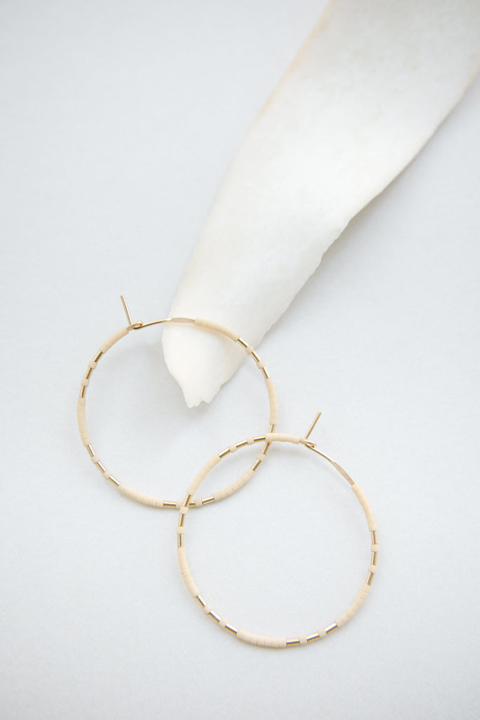 Chaldene Hoops in Oyster by Abacus Row Handmade Jewelry