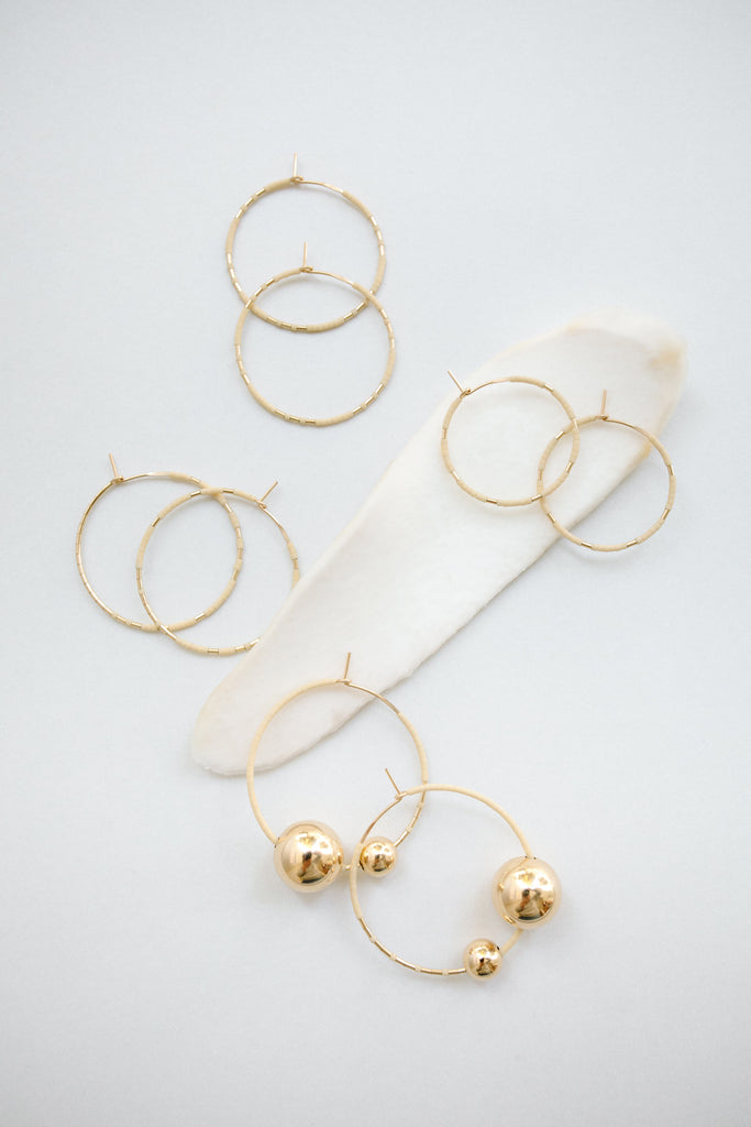 Selene Hoops in Oyster by Abacus Row Handmade Jewelry