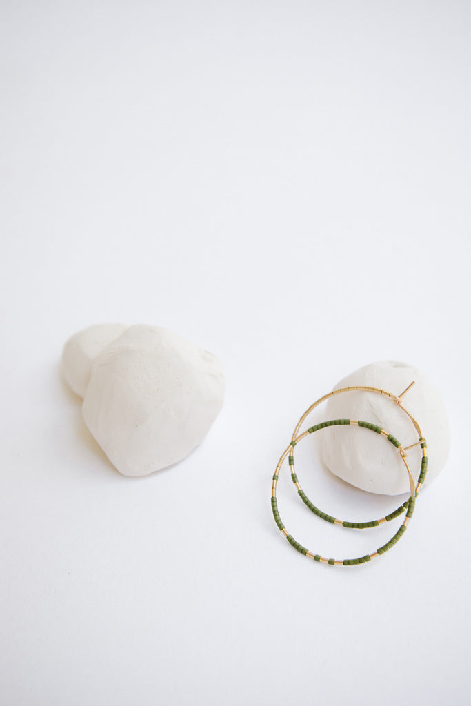 Pan Hoops in Palm by Abacus Row Handmade Jewelry