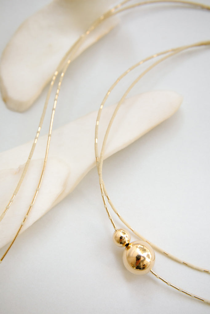 Selene Collection Necklaces in Oyster by Abacus Row Handmade Jewelry