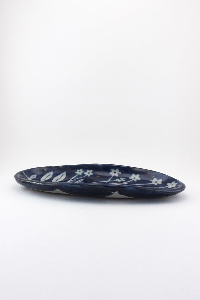 Large Oval Painted Floral Dish by Ariel Clute