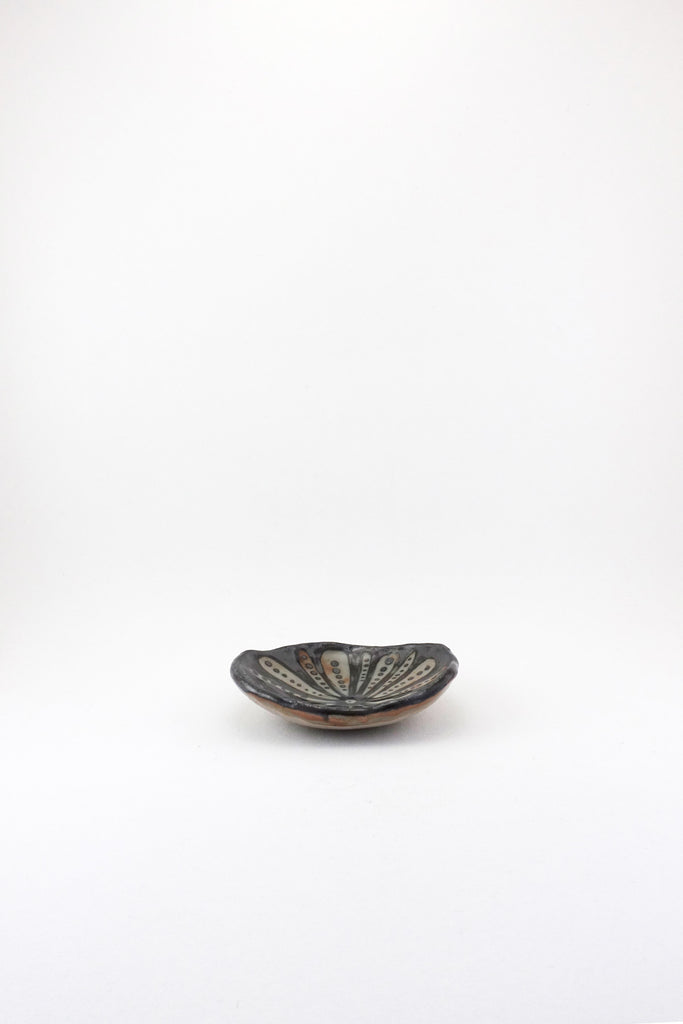 Small Painted Floral Dish in black by Ariel Clute