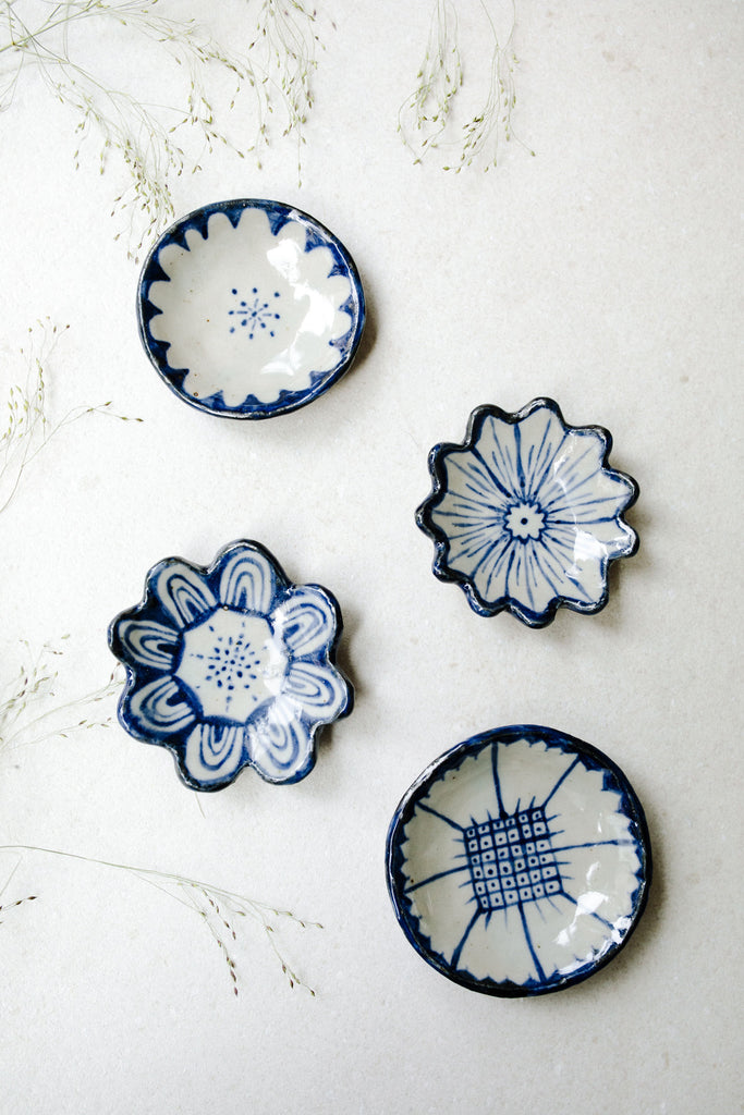 Small Painted Floral Dishes by Ariel Clute