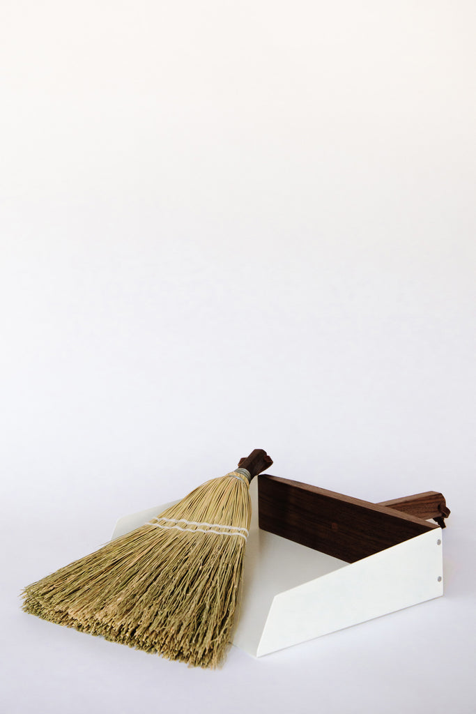 Walnut + White Handheld Dustpan and Whisk Broom by Hannah B Quinn at Abacus Row