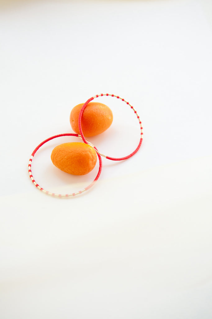 Red Joy Luck Hoop Earrings - Year of the Ox Collection by Abacus Row