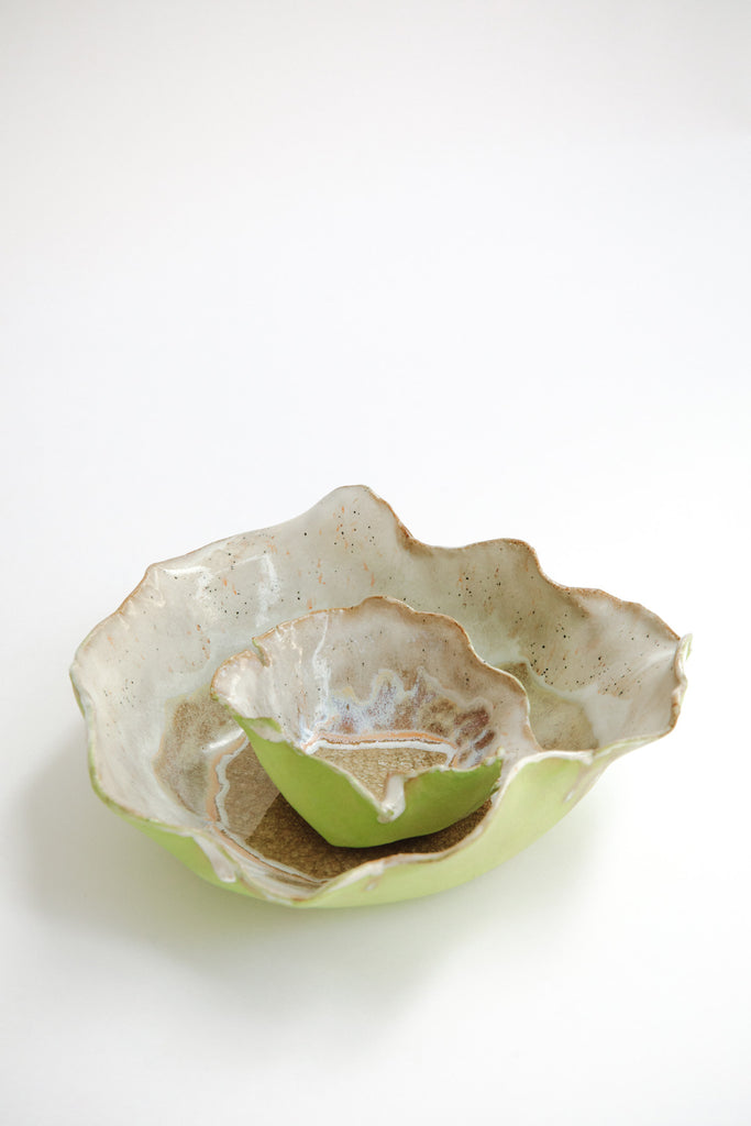 Set of Iceland Northern Lights Flower Bowl and Dish by Minh Singer