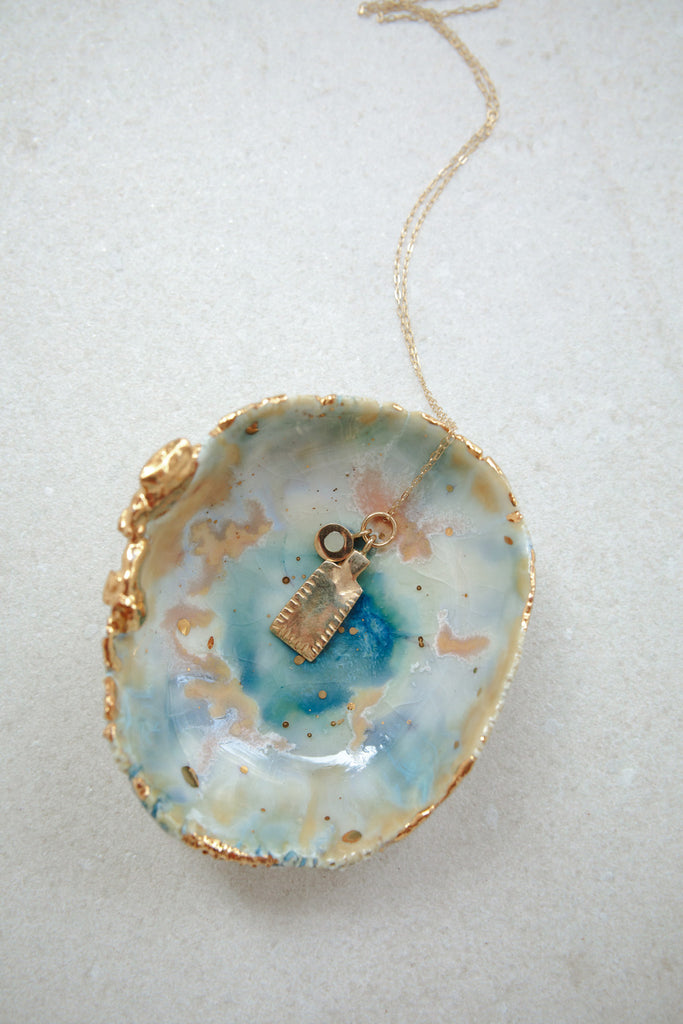 Cove Necklace with Gold Tag + Sea Stud Pendants