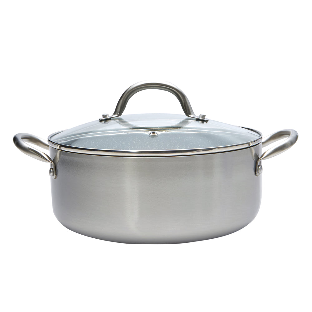 Stainless Steel 4.4 QT Grey Marble Casserole
