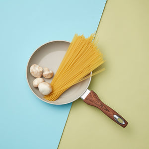 Matte Finish Wood Handle Beige Fry Pan