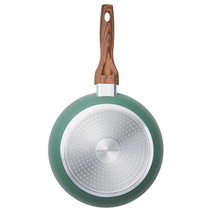 "Wood Handle 8"" & 11"" Green Fry Pan Combo Pack"